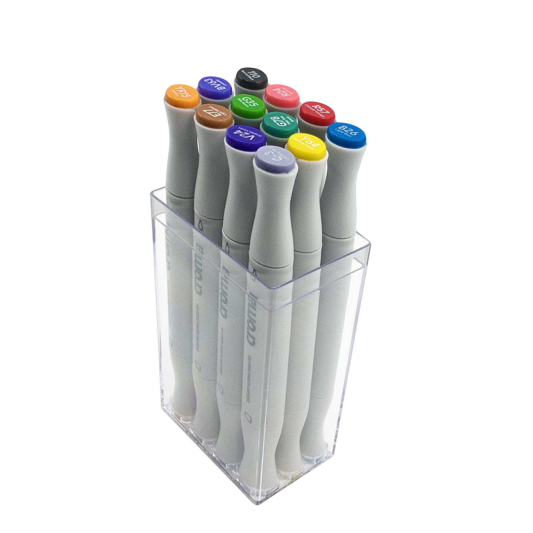 X5 軟毛雙頭麥克筆-12色.透明盒